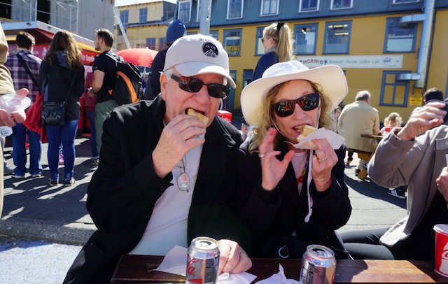 Eating hotdogs in Iceland!